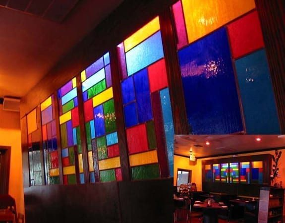 Stained glass displayed in a restaurant interior window