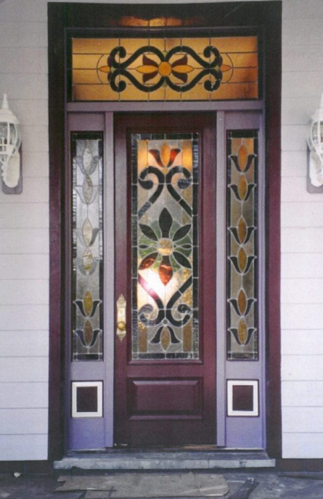 A stained glass window door design for a house