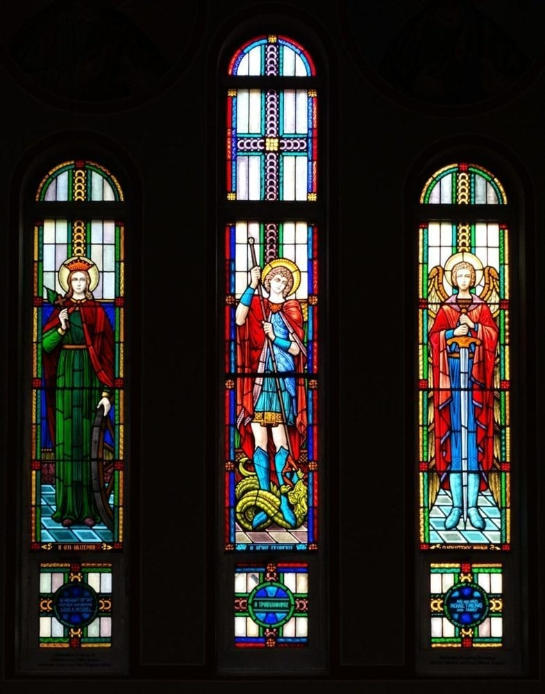 Stained Glass windows inside a church