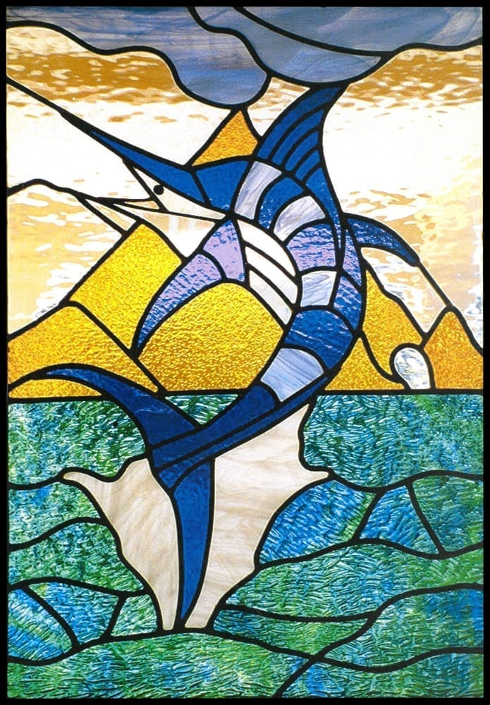 Stained glass window design of a marlin