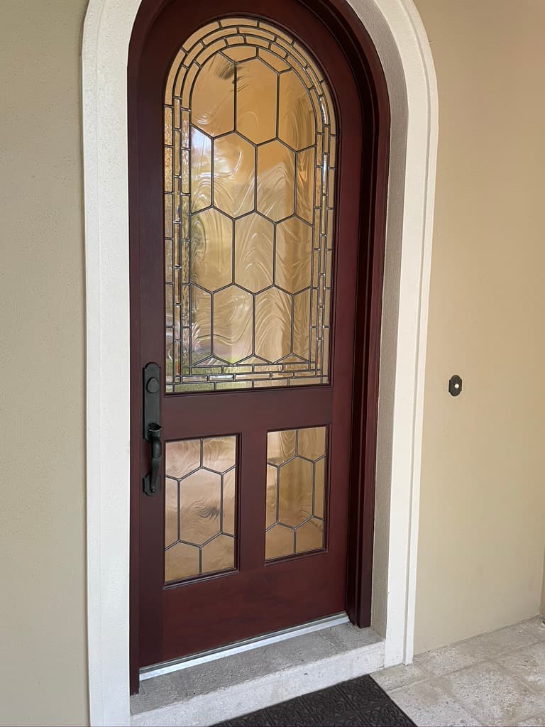 Stained glass door design from a home